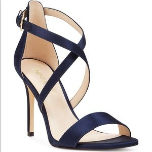 New Nine West my debut navy strapped heels 7.5